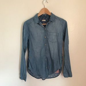 Hollister Denim Like Button Up with Colorful Back